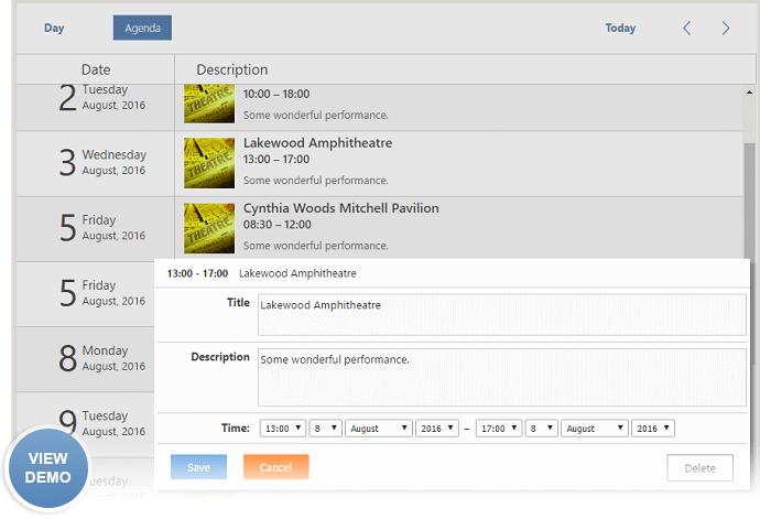 Dhtmlx Scheduler Create Calendar Of Events With Featured