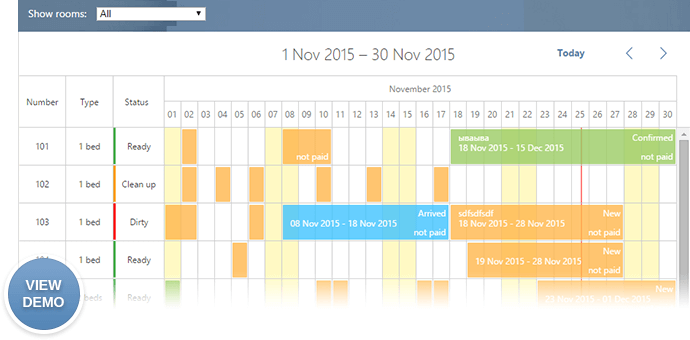 hotel room booking calendar