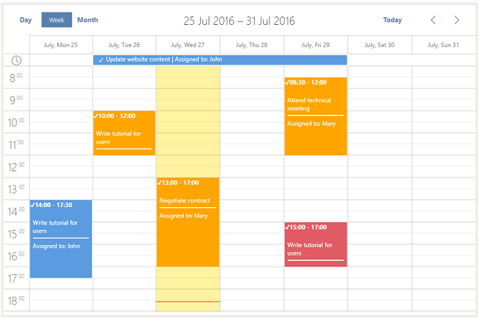 calendar checked events