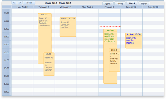 booking calendar screenshot