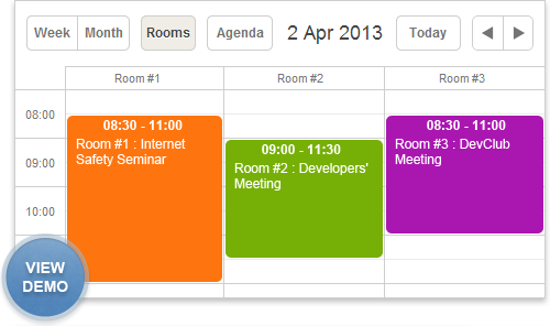 room booking calendar demo