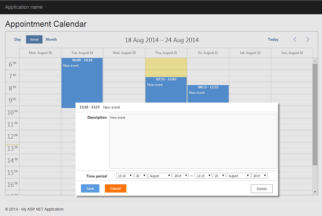 7 Steps To Appointment Calendar in ASP NET MVC5 (Example)