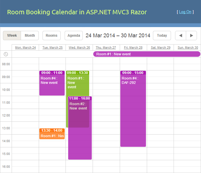 room booking demo calendar mvc3